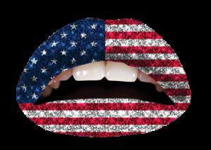 american flag glitter lip
